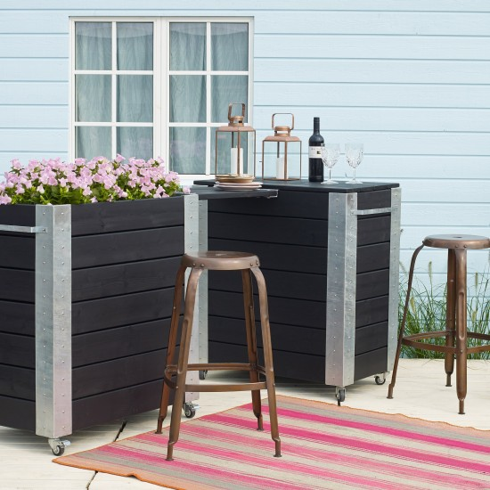 hochbeet blumenkasten cubic inkl stahlecken und rollen l87cm. Black Bedroom Furniture Sets. Home Design Ideas